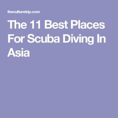 The 11 Best Places For Scuba Diving In Asia