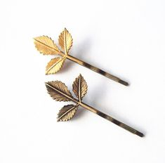 Leaf Bobby Pin Gold Leaf Hair Pin Brown Leaf Hair Pin Rustic Woodland Wedding Hair Accessories Cute Adorable Minimal Elegant Romantic Dreamy