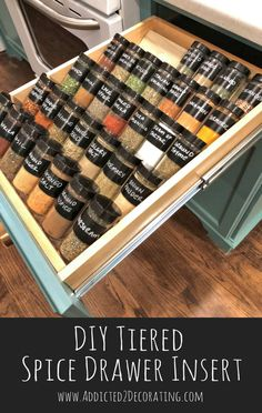 Kitchen Organization – DIY Tiered Spice Drawer Insert – Addicted 2 Decorating® – Home Diy Organizations Kitchen Drawer Organization, Spice Organization, Diy Kitchen Storage, Diy Kitchen Decor, Kitchen Drawers, Home Decor, Decorating Kitchen, Organizing Ideas, Kitchen Pantries