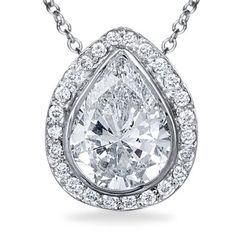 Stunning Pear Shaped Halo Pendant - in 18kt White Gold (1.25 CTW)
