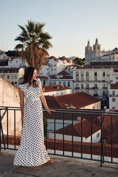 Sunrise in Lisbon, Portugal / polka dot dress