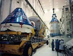 Apollo 12 and Apollo 11 at the Vehicular Assembly Building in 1969.