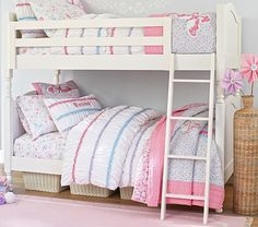 Bunk beds are great for siblings and sleepovers. Shop Pottery Barn Kids' bunk beds and loft beds for kids with functional and sturdy styles. Girls Bunk Beds, Twin Bunk Beds, Kid Beds, Girls Bedroom, Bedroom Ideas, Loft Beds, Ikea Bedroom, Ikea Bunk Bed, Modern Bunk Beds