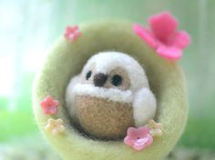 Handmade owl in nest home decor ornament needle by NozomiCrafts, $23.00