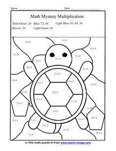 Multiplication Facts Worksheets color | Silly Turtle Multiplication Puzzle