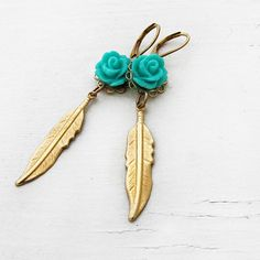 Boho Gold Feather Earrings Turquoise Jewelry