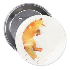 Pretty waterolor fox button - on Zazzle.
