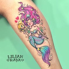 Neo traditional tattoo with mermaid and arm tattoo - page 15 Girly Tattoos, Trendy Tattoos, Leg Tattoos, Arm Tattoo, Body Art Tattoos, Sleeve Tattoos, Badass Tattoos, Tatoos, Tattoo Ink