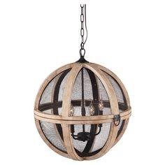 Add an industrial-chic touch to your dining room or foyer with this distressed oak-finished pendant, featuring meshed metal surrounding an interior chandelie...