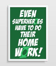 Kids Wall Decor Green Lantern Superhero by TheWatermelonFactory