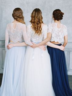 38 Chic And Trendy Bridesmaids' Separates Ideas: white lace crop tops and a light blue and navy maxis for bridesmaids Bridesmaid Separates, Neutral Bridesmaid Dresses, Navy Bridesmaid Dresses, Brides And Bridesmaids, Wedding Dresses, Bridal Separates, Wedding Hair, Wedding Stuff, Bridesmaid Inspiration