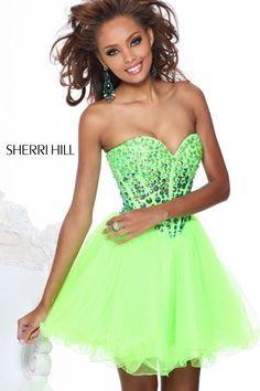 Cute and short lime green prom dress 2013 from Sherri Hill #prom2013 #promdresses #promdresses2013