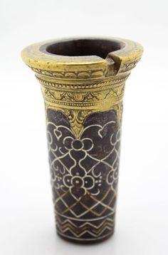 antique 18th C Bidri Kuftgari cast iron Betel Areca Nut Mortar with silver inlay
