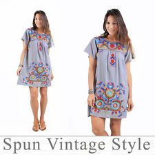 7ad68bc5b3 Vtg Mexican Oaxacan style floral embroidered Tunic peasant boho Maternity  Dress Boho Maternity Dress