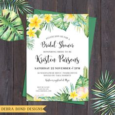Tropical invitation, frangipani/plumeria, for any occasion - engagement, bridal or baby shower, save the date, wedding, digital printable