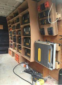 25 Ideas Tool Storage Van Projects - Movie World 2020 Garage Tool Storage, Van Storage, Workshop Storage, Garage Tools, Shed Storage, Workshop Ideas, Trailer Shelving, Van Shelving, Trailer Storage