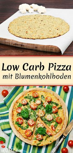 Blumenkohl-Pizza Rezept This low carb pizza with cauliflower pizza base is not only a healthy, but also a delicious, low-carbohydrate pizza alternative. A perfect low carb dinner for those who like ca Low Carb Chicken Recipes, Healthy Low Carb Recipes, Low Carb Dinner Recipes, Healthy Pizza, Diet Recipes, Zoodle Recipes, Diet Meals, Janta Low Carb, Law Carb