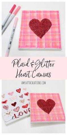 Plaid & Glitter Heart Canvas Happy Valentine Day HAPPY VALENTINE DAY | IN.PINTEREST.COM WALLPAPER EDUCRATSWEB