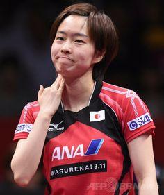 世界卓球団体選手権東京大会(2014 World Team Table Tennis Championships)最終日、女子決勝に出場した石川佳純(Kasumi Ishikawa、2014年5月5日撮影)。(c)AFP/Toshifumi KITAMURA ▼6May2014AFP|日本女子、世界卓球団体で銀メダル http://www.afpbb.com/articles/-/3014202 #team_Japan #2014_World_Table_Tennis_Championships