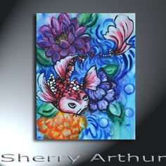 Koi Fish Red Black White With Water And Flowers by sherryarthur, $95.00