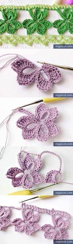 Ideas Free Crochet Trefoil Lace edging with Free Pattern Crochet Diy, Freeform Crochet, Love Crochet, Irish Crochet, Crochet Motif, Crochet Crafts, Yarn Crafts, Crochet Flowers, Crochet Projects