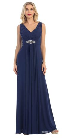 Long Bridesmaids Sleeveless Chiffon Pleated Simple Prom Dress - The Dress Outlet - 10
