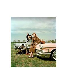 Mary McLaughlin in a dress by Trigère and mink coat leans against 1958 Cadillac, Anne St. Marie in black fur coat sits on 1958 Cadillac Biarritz convertible, photo by John Rawlings, Vogue, November 1957 Black Fur Coat, Accent Pieces, Cadillac, Vintage Cars, Vogue, Glamour, Poses, Grass Man, Elegant