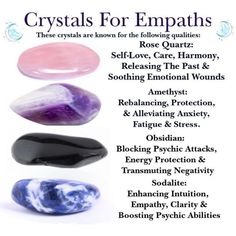 Crystals For Highly Sensitive People Rose Quartz, Amethyst, Obsidian & Sodalite for Intuition Energy Crystals And Gemstones, Stones And Crystals, Chakra Crystals, Wicca Crystals, Gem Stones, Blue Crystals, Chakra Healing Stones, Healing Gemstones, Story Stones