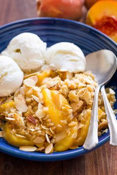 This Peach Crisp is our favorite summer peach recipe. The peach juices bubbling under the crisp buttery crunchy topping is completely irresistible. Add a generous dollop of vanilla ice cream!   natashaskitchen.com Jello Recipes, Sweets Recipes, Easy Desserts, Delicious Desserts, Kitchen Recipes, Cooking Recipes, Peach Crumble, Crumble Topping, Deserts