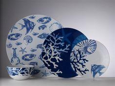 Mario Luca Giusti Sirenuse dinnerware featuring the Buffet plate, Dinner plate, Dessert plate, and Cereal bowl. Ceramic Tableware, Ceramic Pottery, Delft, Coastal Style, Coastal Decor, Buffet Plate, Pottery Painting Designs, China Painting, China Patterns