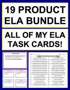ELA TASK CARDS: ALL OF MY TASK CARDS GROWING BUNDLE: 14 CCSS-aligned products: text connections; drawing conclusions; inference skills; main idea lesson; summarize lesson; teach theme; context clue strategies; informational text skills; fiction reading skills; teaching on a budget #elataskcards