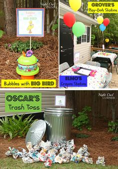 Sesame Street birthday party activity stations: Bubbles with Big Bird, Grover's Play-doh station, Elmo's Coloring station, & Oscar's Trash Can Toss