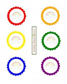 Free rainbow party printable labels or cupcake toppers