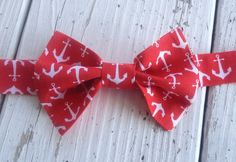 Red Anchor Bow Tie Baby Boy Bow Tie Nautical Boy's by LKMstudios