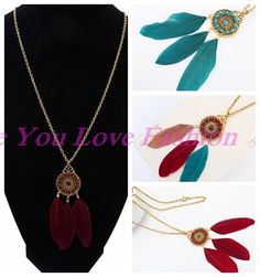 Fashion Women Retro Bronze Feather Leaf Pendant Sweater Chain Long Necklace #newfeeling #Charm