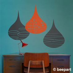 mid century rain drops wall decals modern rain drop by beepart