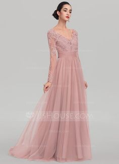[US$ 192.99] A-Line/Princess V-neck Sweep Train Tulle Evening Dress With Beading Sequins