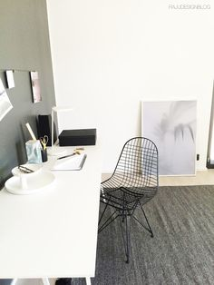 Ultra minimalist Scandinavian work space in black and white. The design is from the Vantaa Housing Fair 2015 in Vantaa, Finland.