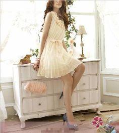 Flowing femme white/pinkish chiffon dress. :)