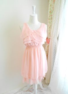 French Mademoiselle pale baby pink ruffles chest tunic cocktail tank sleeveless chiffon women sundress. $26.00, via Etsy.