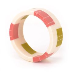 Bakelite inspired bangle in Ivory White, Coral Pink and Lime Green by Tikibrighton on Etsy