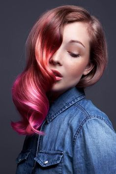Coral and magenta ombre with a retro curl.