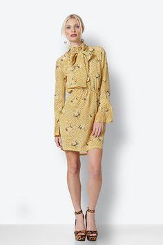 Yellow Mini Dress with print High Neck Dress, Yellow, Mini, Skirts, Pants, Dresses, Fashion, Turtleneck Dress, Vestidos
