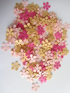 Paper flowers, 200 small paper flowers, small die cuts, paper flower punches, scrapbooking, wedding confetti, party confetti, baby shower