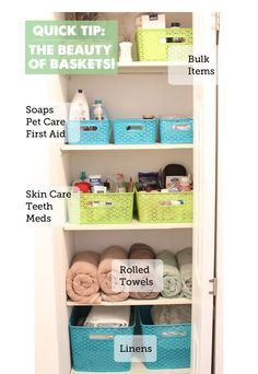 My linen closet is always tough to organize. There are all sorts of good ideas for baskets used to organize here. Great tips!