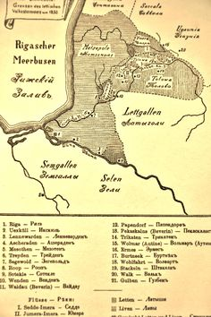 """Unknown source. It shows overlap between Latgallian (Baltic) and Liv (Finnic) peoples in northern central Latvia in 1250. Wenden (present-day Cēsis) is No.10. The Livonian Chronicle of Henry, 1206, describes the Vendi as """"a submissive and impoverished people"""", who were baptized Catholic and allied themselves with the Brotherhood of the Sword, who built their masonry castle right next door to the Vendi hillfort. By this time the Vendi were perhaps already being assimilated into the…"""