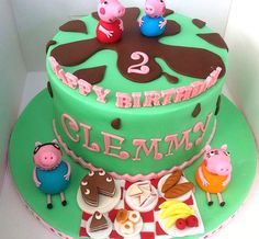 Peppa Pig Inspired Picnic: Yet another scrummy chocolate cake with chocolate buttercream and chocolate ganache. With handmade edible cake topper.