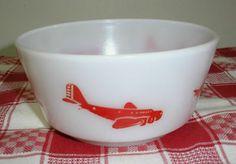 Hazel Atlas Milk Glass Child's Red Airplane Bowl