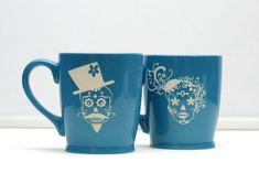 His and Hers Sugar Skull Coffee MugsChristmas by GlassBlastedArt