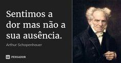 Sentimos a dor mas não a sua ausência. — Arthur Schopenhauer